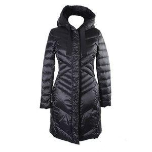Tahari Black Hooded Ruched Puffer Coat S